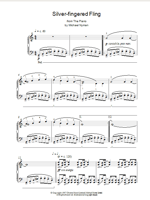 Michael Nyman Silver-Fingered Fling (from The Piano) sheet music notes printable PDF score
