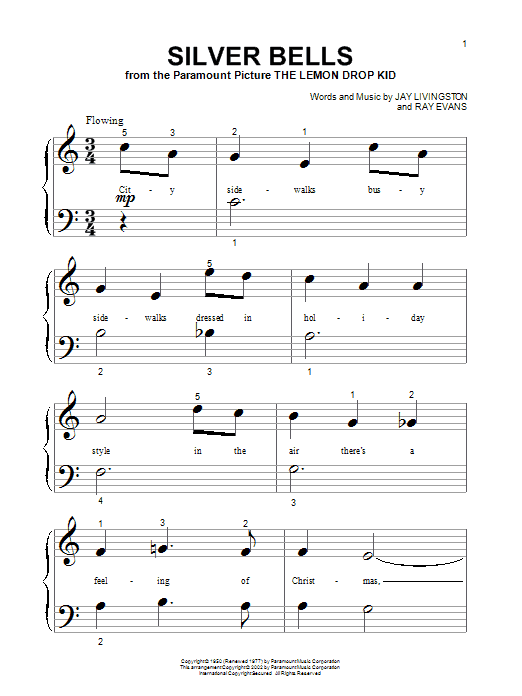 Jay Livingston Silver Bells sheet music notes printable PDF score