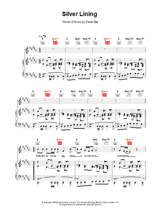 David Gray Silver Lining sheet music notes printable PDF score