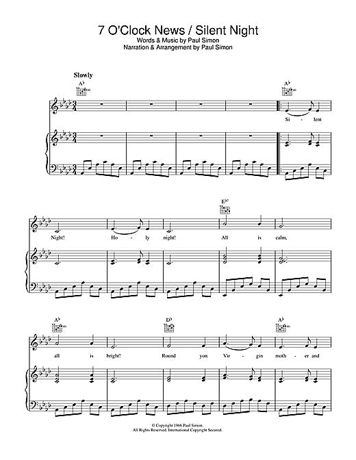 Simon & Garfunkel 7 O'Clock News/Silent Night sheet music notes printable PDF score