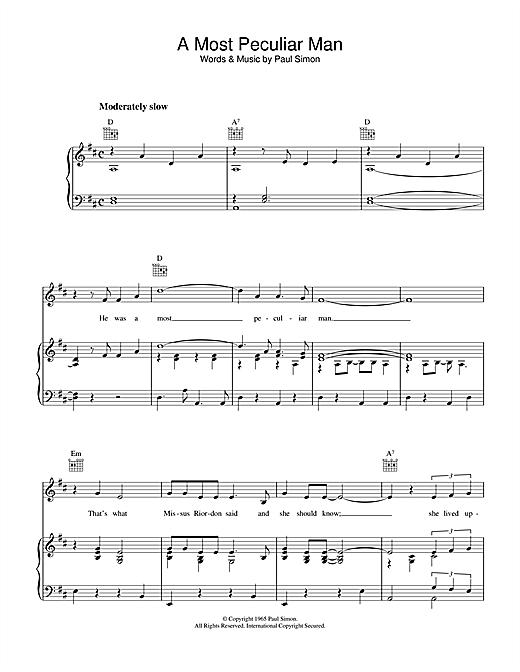 Simon & Garfunkel A Most Peculiar Man sheet music notes printable PDF score