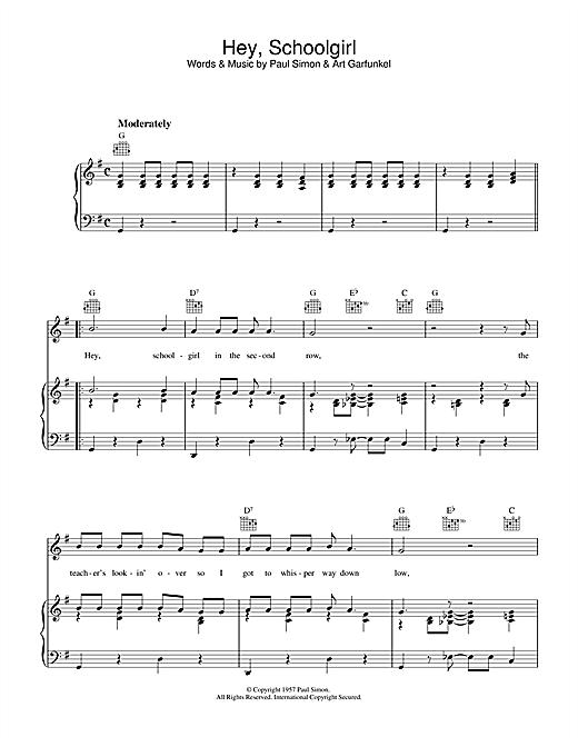 Simon & Garfunkel Hey Schoolgirl sheet music notes printable PDF score
