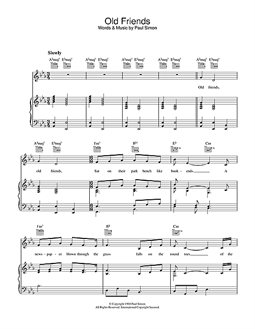 Simon & Garfunkel Old Friends sheet music notes printable PDF score