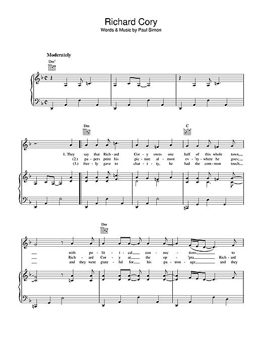 Simon & Garfunkel Richard Cory sheet music notes printable PDF score