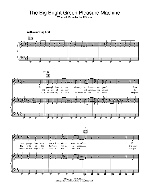 Simon & Garfunkel The Big Bright Green Pleasure Machine sheet music notes printable PDF score