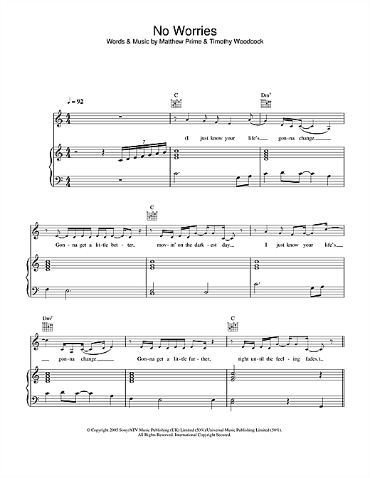 Simon Webbe No Worries sheet music notes printable PDF score