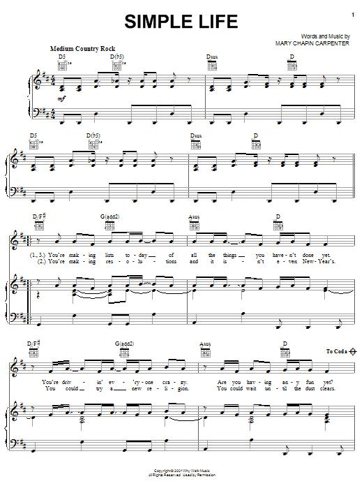 Mary Chapin Carpenter Simple Life sheet music notes printable PDF score