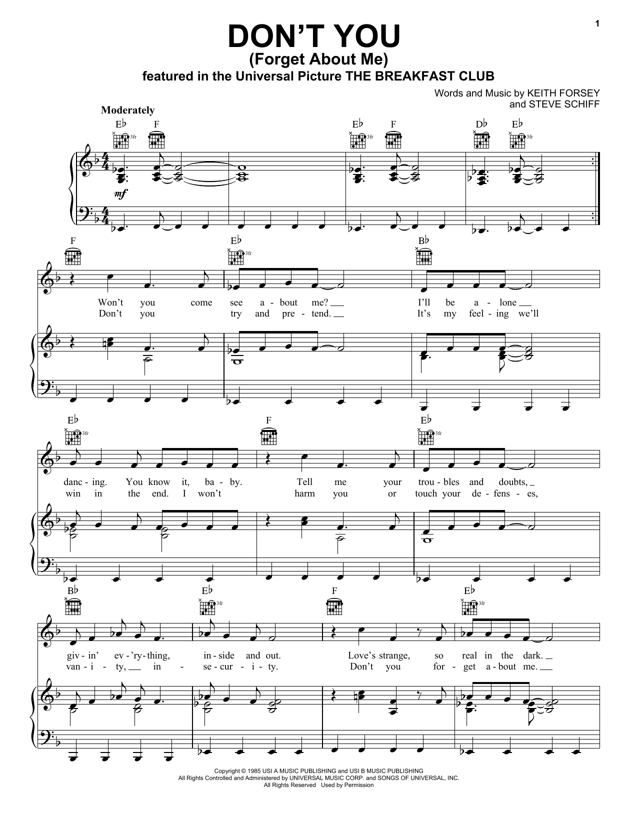 Simple Minds Don't You (Forget About Me) sheet music notes and chords. Download Printable PDF.