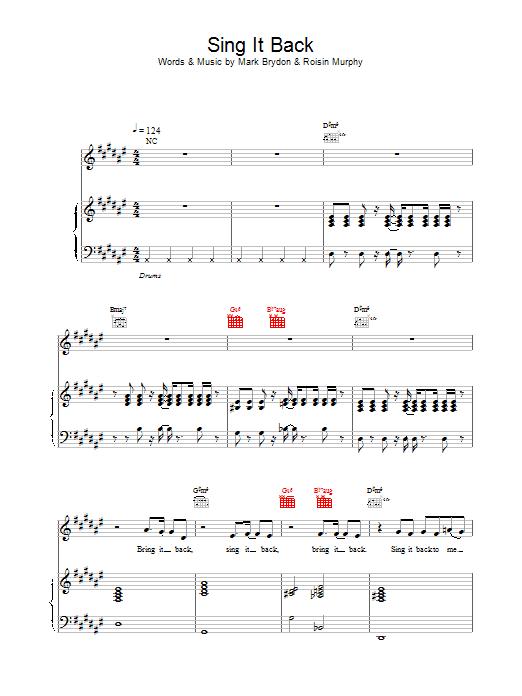 Moloko Sing It Back sheet music notes printable PDF score