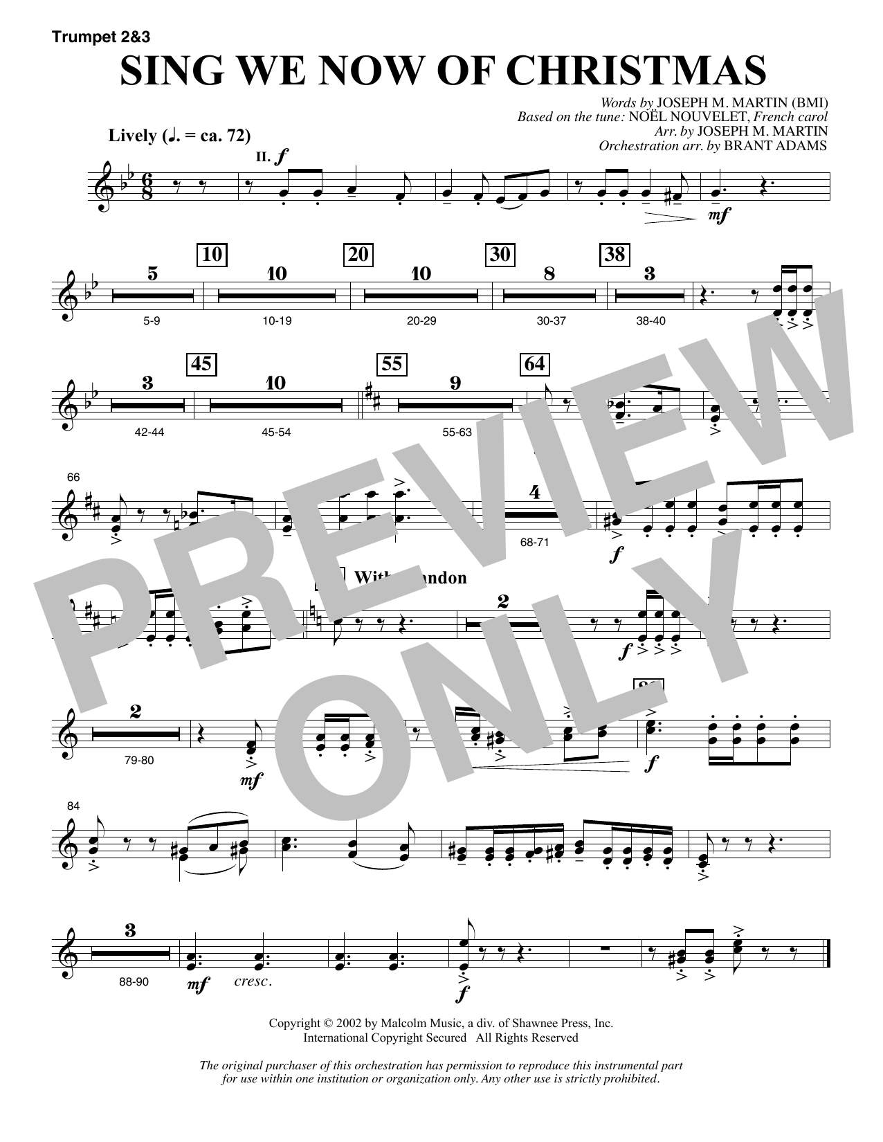 Joseph M. Martin Sing We Now Of Christmas (from Morning Star) - Bb Trumpet 2,3 sheet music notes printable PDF score