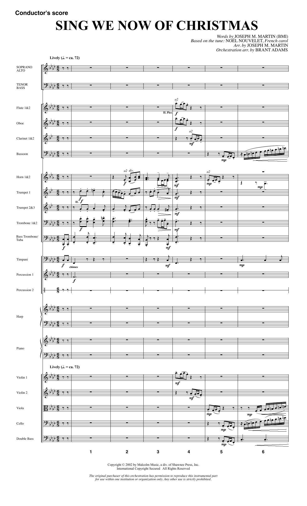 Joseph M. Martin Sing We Now Of Christmas (from Morning Star) - Full Score sheet music notes printable PDF score