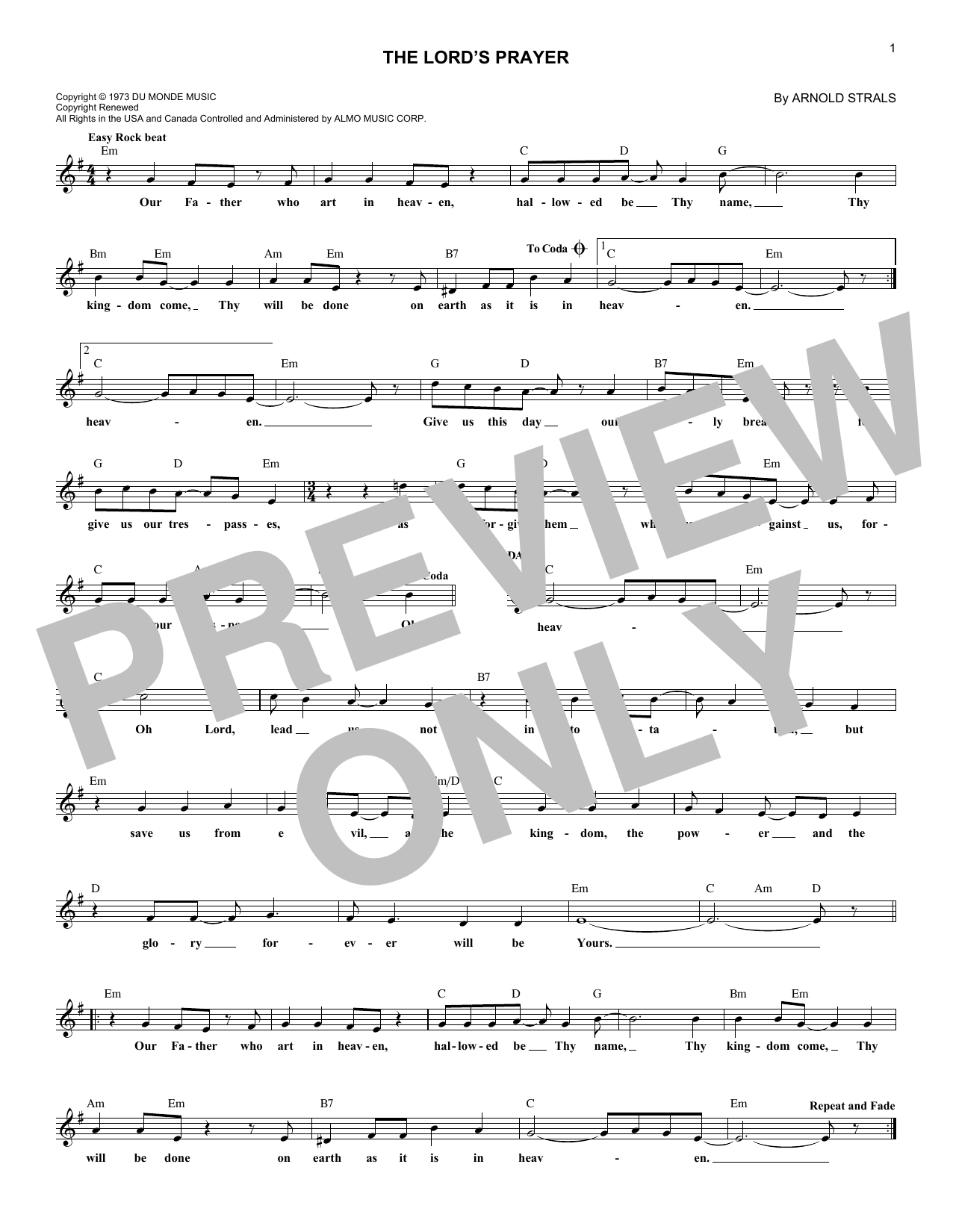 Sister Janet Mead The Lord's Prayer sheet music notes and chords. Download Printable PDF.