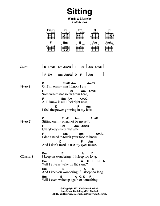 Cat Stevens Sitting (from the musical 'Moonshadow') sheet music notes printable PDF score