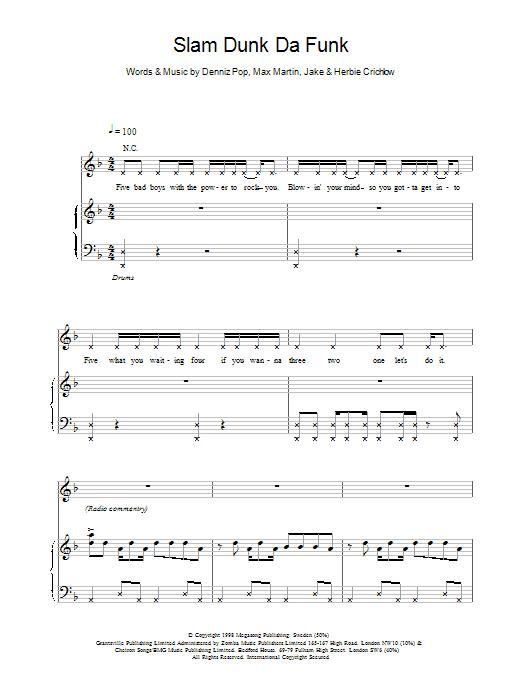 Five Slam Dunk Da Funk sheet music notes printable PDF score