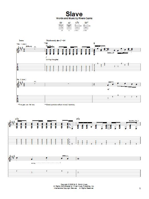 Weezer Slave sheet music notes printable PDF score