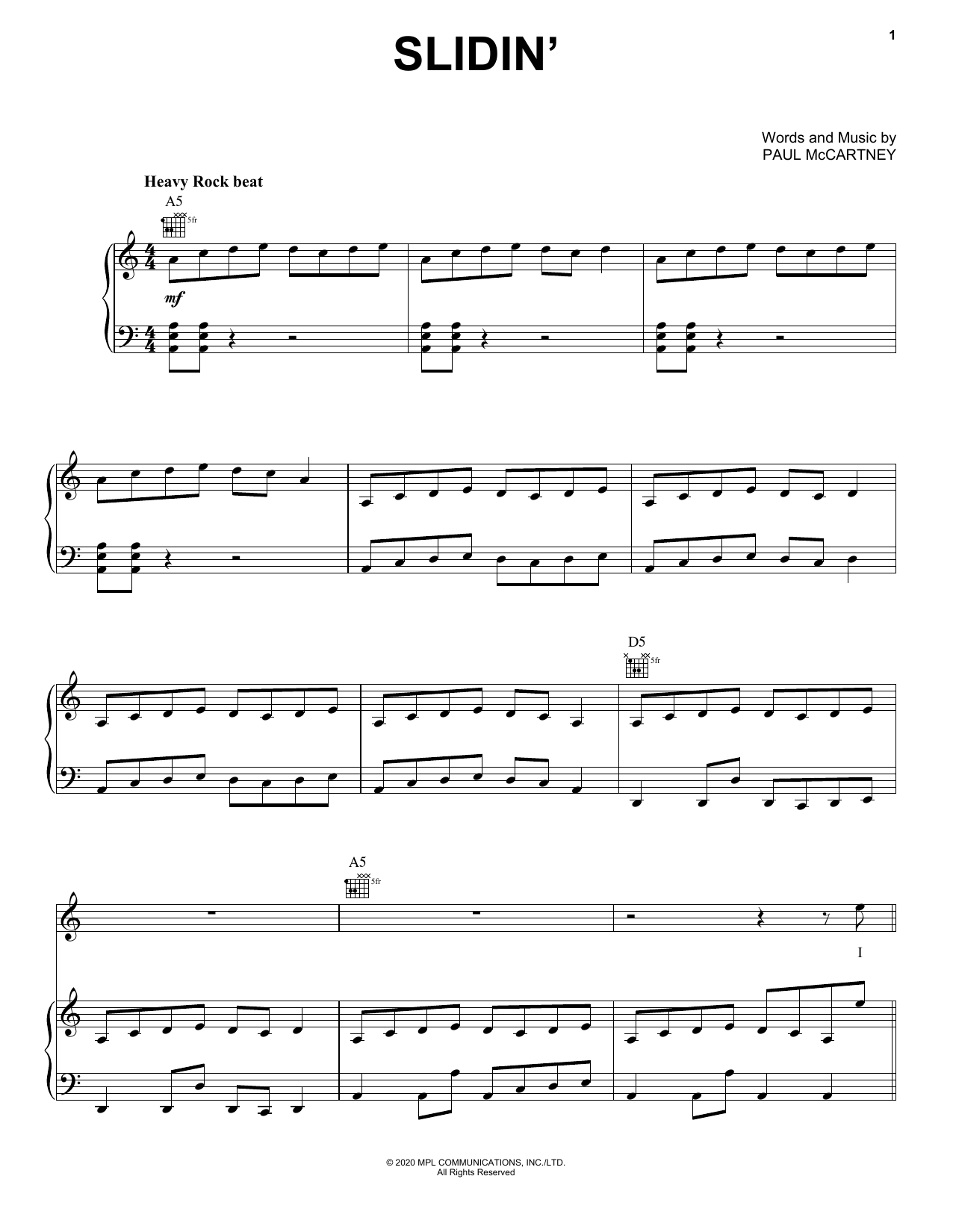 Paul McCartney Slidin' sheet music notes printable PDF score