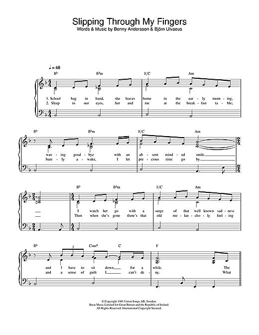 ABBA Slipping Through My Fingers sheet music notes printable PDF score
