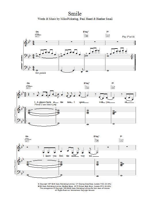 M People Smile sheet music notes printable PDF score