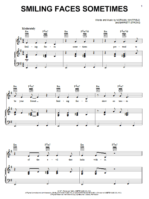 The Undisputed Truth Smiling Faces Sometimes sheet music notes printable PDF score