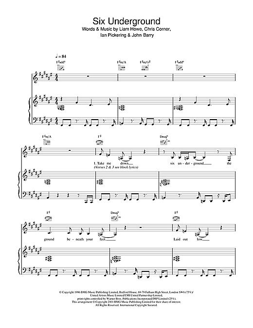 Sneaker Pimps Six Underground sheet music notes printable PDF score