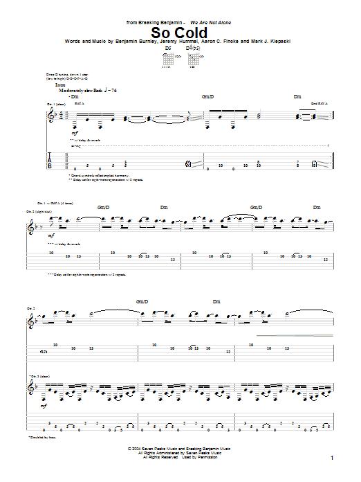 Breaking Benjamin So Cold sheet music notes printable PDF score