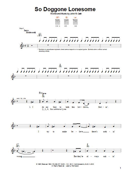 Johnny Cash So Doggone Lonesome sheet music notes printable PDF score