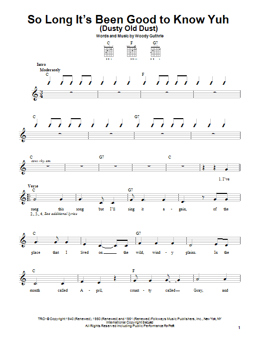 Woody Guthrie So Long It's Been Good To Know Yuh (Dusty Old Dust) sheet music notes printable PDF score