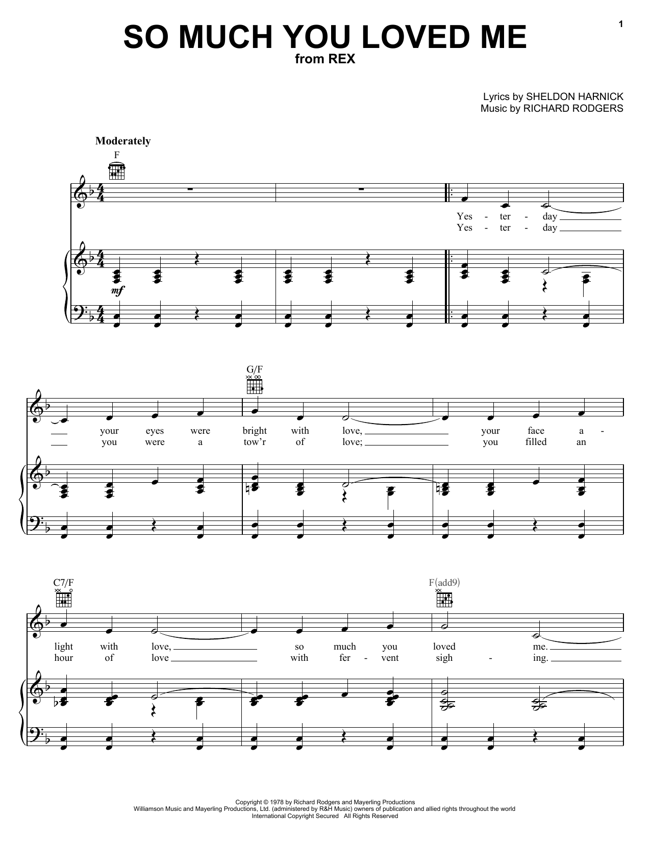 Richard Rodgers So Much You Loved Me sheet music notes printable PDF score