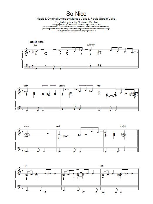 Johnny Mercer So Nice sheet music notes printable PDF score