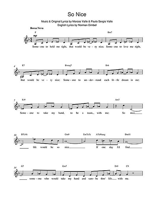 Paulo Sergio Valle So Nice sheet music notes printable PDF score