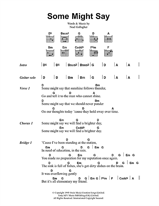 Oasis Some Might Say sheet music notes printable PDF score