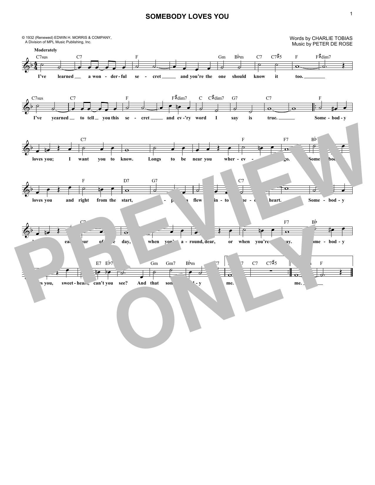 Charlie Tobias and Peter De Rose Somebody Loves You sheet music notes printable PDF score