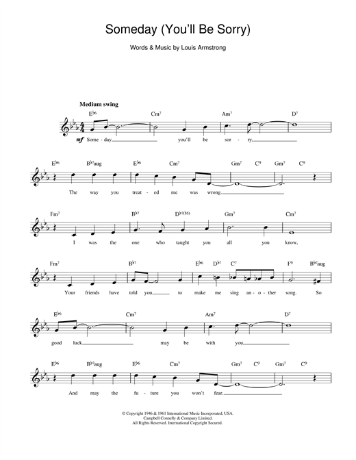 Louis Armstrong Someday (You'll Be Sorry) sheet music notes printable PDF score