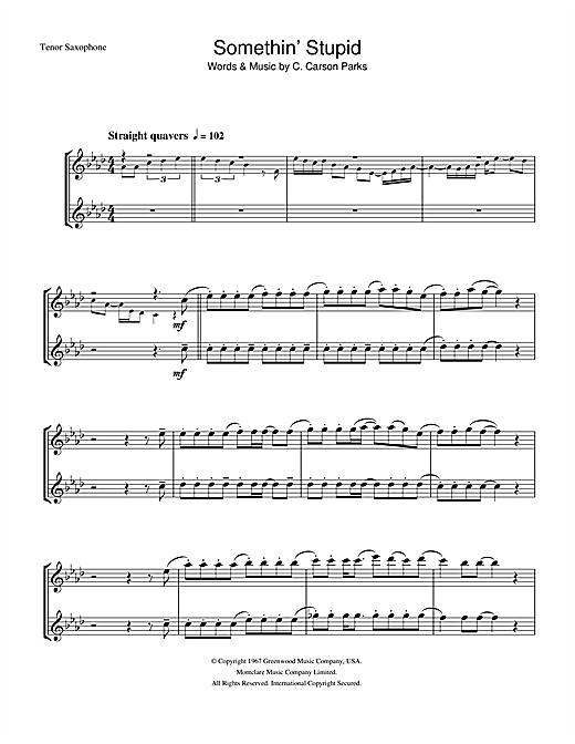 Frank Sinatra Somethin' Stupid sheet music notes printable PDF score