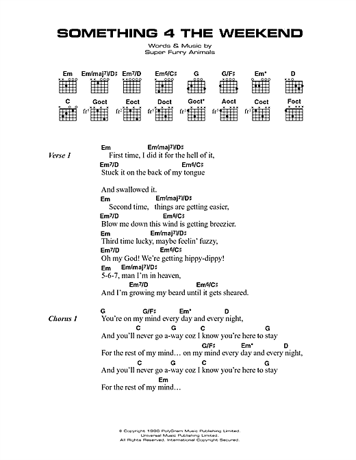 Super Furry Animals Something 4 The Weekend sheet music notes printable PDF score
