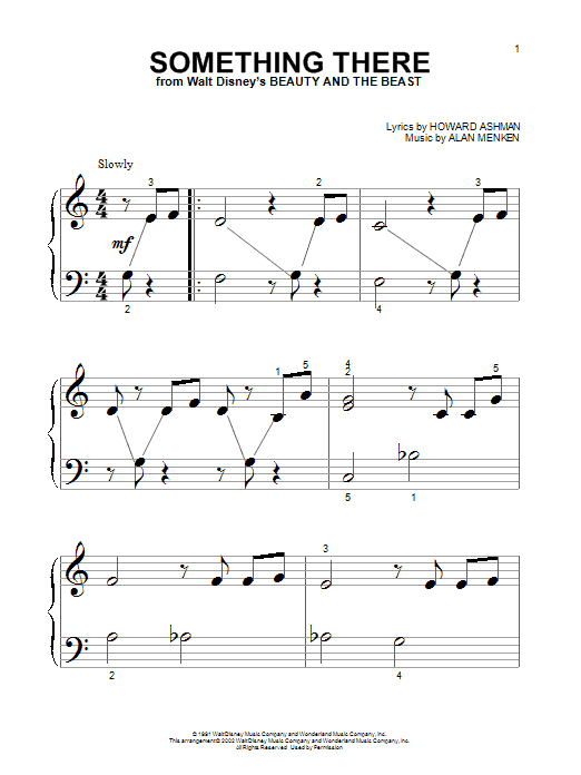 Alan Menken Something There (from Beauty And The Beast) sheet music notes printable PDF score