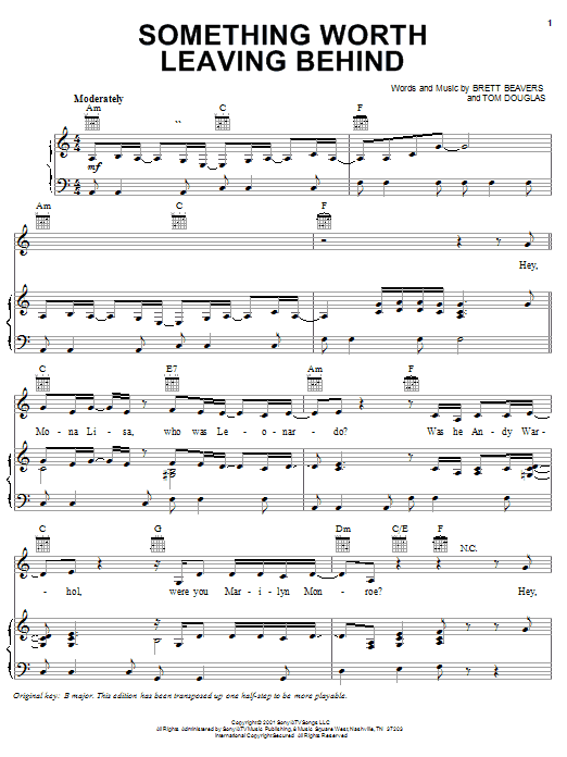 Lee Ann Womack Something Worth Leaving Behind sheet music notes printable PDF score