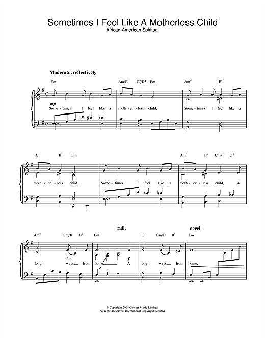 African-American Spiritual Sometimes I Feel Like A Motherless Child sheet music notes printable PDF score