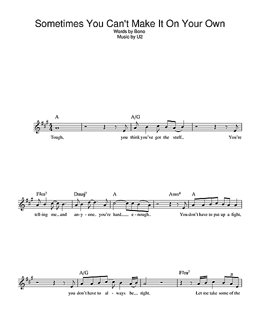 U2 Sometimes You Can't Make It On Your Own sheet music notes printable PDF score