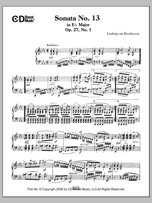 Ludwig van Beethoven Sonata No. 13 In E-flat Major, Quasi Fantasia, Op. 27, No. 1 sheet music notes printable PDF score