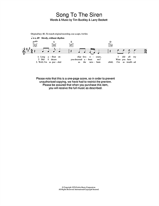 Tim Buckley Song To The Siren sheet music notes printable PDF score