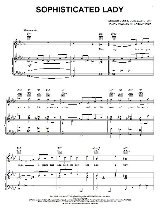 Duke Ellington Sophisticated Lady sheet music notes printable PDF score