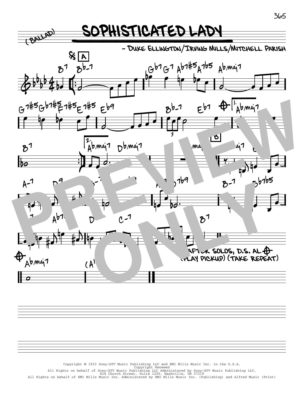 Duke Ellington Sophisticated Lady [Reharmonized version] (arr. Jack Grassel) sheet music notes printable PDF score