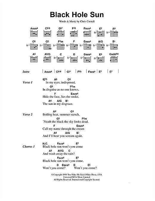 Soundgarden Black Hole Sun sheet music notes and chords. Download Printable PDF.