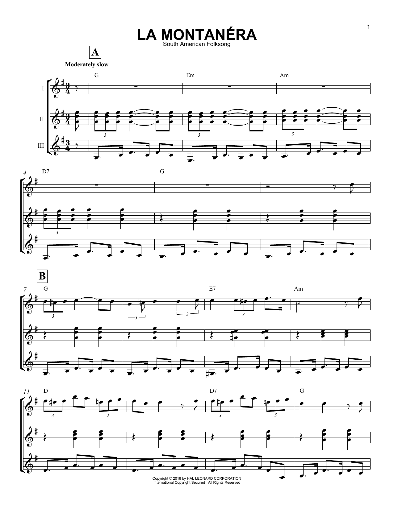 South American Folksong La Montanera sheet music notes and chords - download printable PDF.