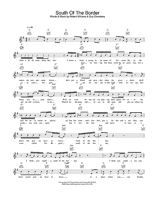 Robbie Williams South Of The Border sheet music notes printable PDF score