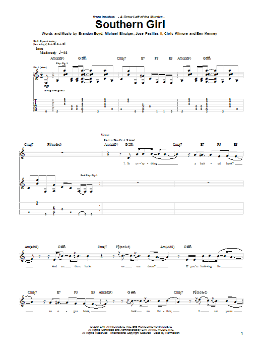 Incubus Southern Girl sheet music notes printable PDF score