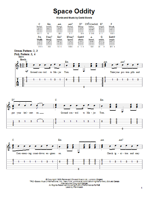 David Bowie Space Oddity sheet music notes printable PDF score