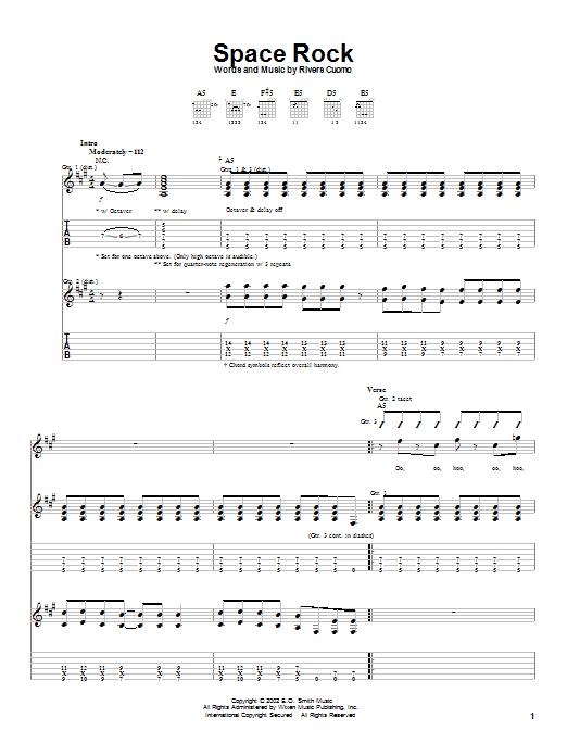 Weezer Space Rock sheet music notes printable PDF score