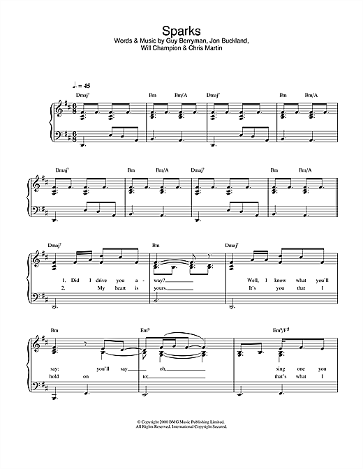 Coldplay Sparks sheet music notes printable PDF score